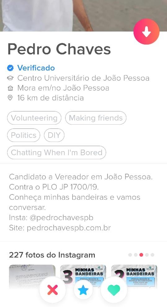 pedro chaves candidato vereador joao pessoa tinder - Candidato usa aplicativo de namoro para tentar conquistar votos em João Pessoa