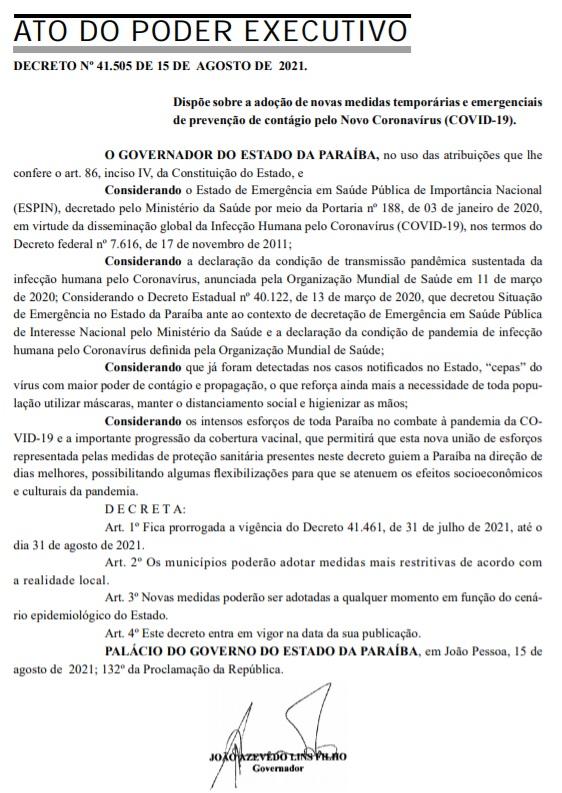 decreto Governo da Paraíba prorroga medidas de combate à pandemia até 31 de agosto em novo decreto