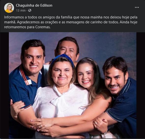 screenshot 2021 03 23 20 facebook - LUTO: Prefeita de Coremas morre aos 62 anos de Covid-19, em João Pessoa