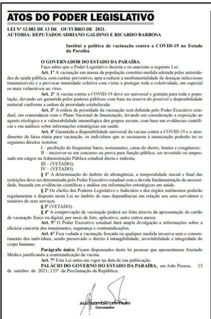 save_20211014_061633 Lei que institui passaporte da vacina para entrada em estabelecimentos comerciais é sancionada na Paraíba