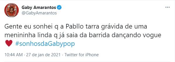 """screenshot_17 Gaby Amarantos diz que sonhou com Pabllo Vittar grávida: """"Uma menininha linda"""""""