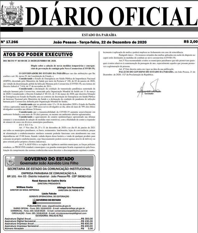 novo_decreto_paraiba_pandemia_covid-19_21122020 Em novo decreto, Governo estabelece que bares e restaurantes da Paraíba só poderão funcionar até 15h na véspera e dia de Natal e Ano Novo