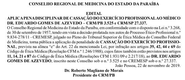medico eduardo gomes de azevedo doe 221119 - MÉDICO DAS CELEBRIDADES: Dr. Eduardo Gomes tem registro profissional cassado na Paraíba