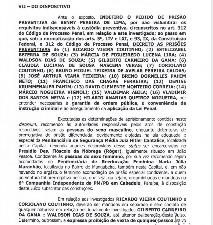 mandados de prisao calvario - CALVÁRIO: Justiça determina prisão de Ricardo Coutinho, Estela, Márcia Lucena e mais 14 pessoas