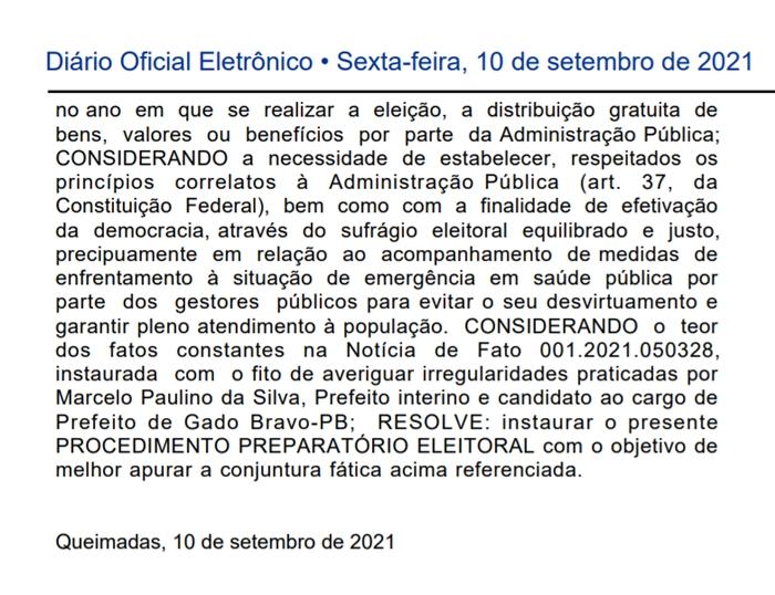 recorte 022 - Prefeito eleito em Gado Bravo neste domingo é alvo de procedimento do Ministério Público