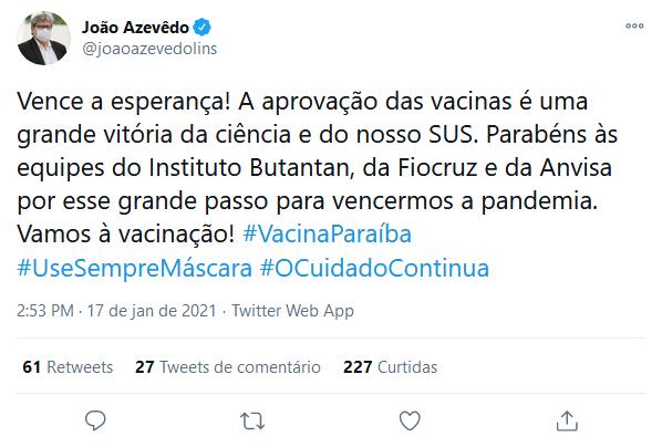 screenshot_2021-01-17_joao_azevedo_no_twitter Governador João Azevêdo comemora aprovação de vacinas pela Anvisa: ''Vamos à vacinação!''