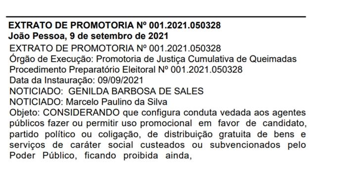 recorte 01 - Prefeito eleito em Gado Bravo neste domingo é alvo de procedimento do Ministério Público
