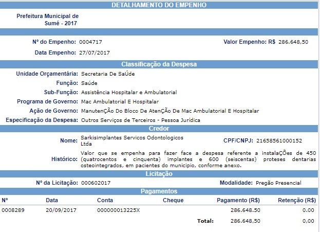 julho EM SUMÉ: empresa mordeu R$ 7 milhões para implantar 12 mil dentaduras e ex-prefeito abocanha R$ 56 mil todo mês