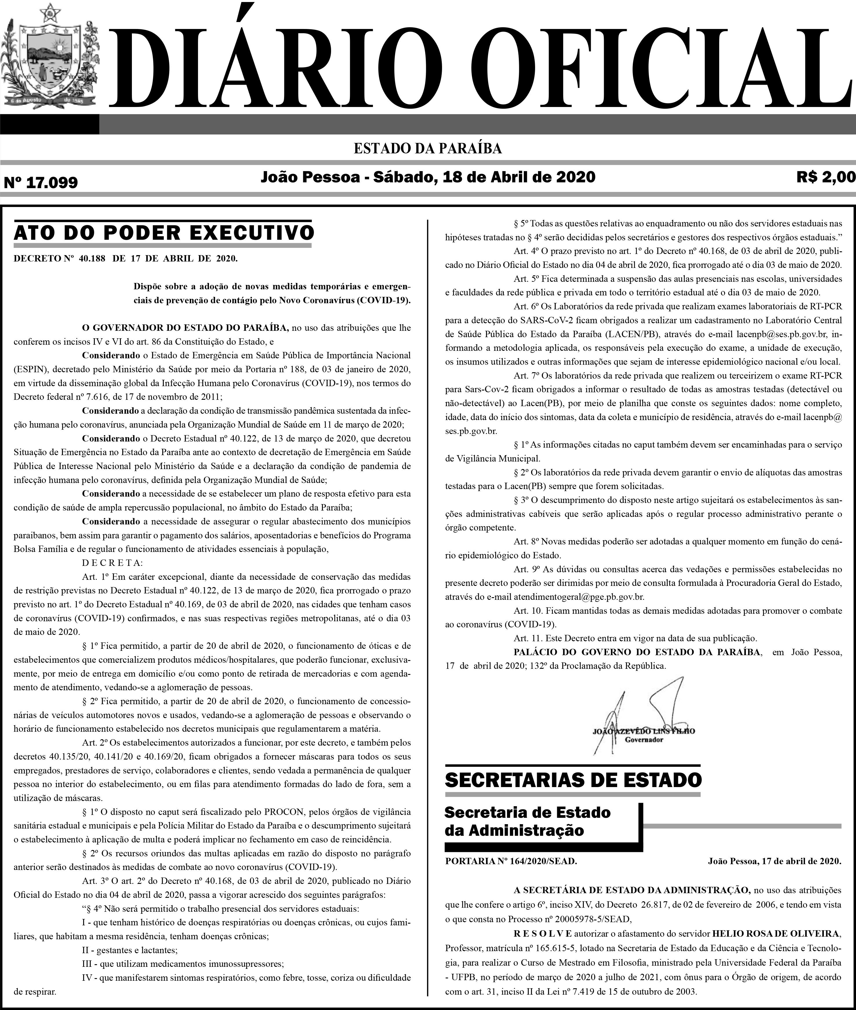 João Azevêdo publica decreto prorrogando até 3 de maio a suspensão de aulas  e fechamento do comércio - ClickPB
