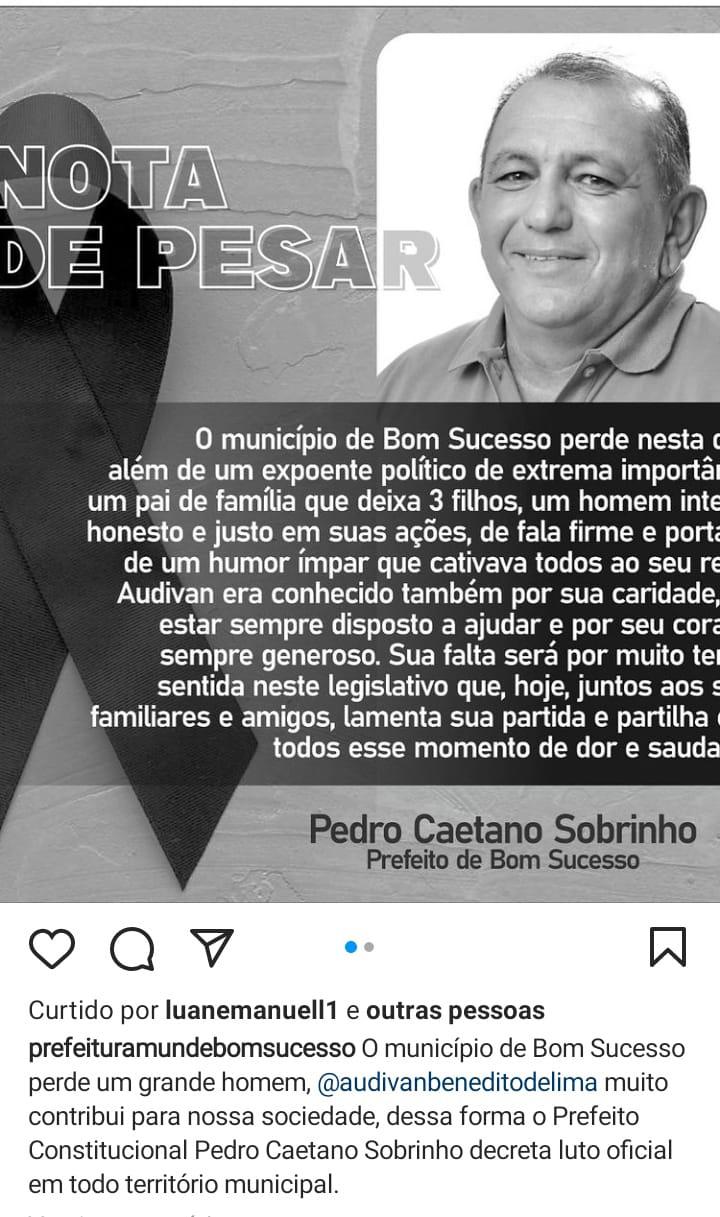 whatsapp image 2021 08 26 at 101828 - Morre vereador paraibano Audivan Benedito, vítima de câncer